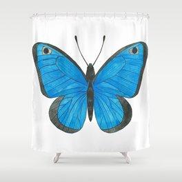 Morpho Butterfly Illustration Shower Curtain