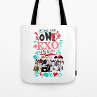 exo Tote Bags featuring EXO WE ARE ONE! WHITE by Haneul Home