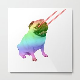 Laser Eyes Rainbow Dog Metal Print