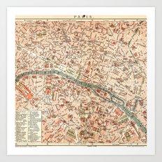 Vintage Map of Paris Art Print