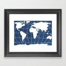 Navy Map of the World Framed Art Print