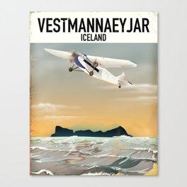 Vestmannaeyjar Iceland travel poster Canvas Print
