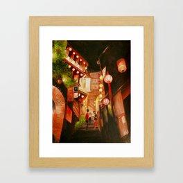 Lanterns town Framed Art Print