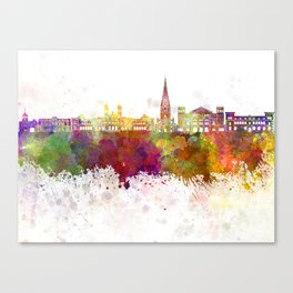 San Sebastian skyline in watercolor background Canvas Print