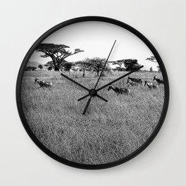 Impala in the grass Wall Clock