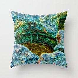 Abstract rocks with barnacles and rock pool Throw Pillow