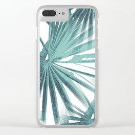 Teal Aqua Tropical Beach Palm Fan Vector Clear iPhone Case