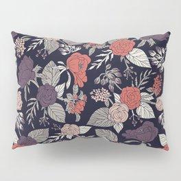 Purple, Gray, Navy Blue & Coral Floral/Botanical Pattern Pillow Sham