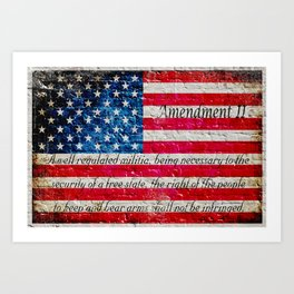 Distressed American Flag and 2nd Amendment On White Bricks Wall Art Print