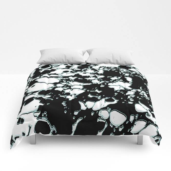 black and white ink paint spill graphic mint green lines comforters