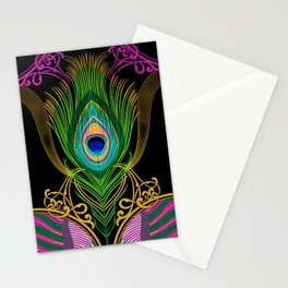 Peacock Feather-black-background Stationery Cards