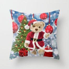 Santa Claus Teddy Bear Throw Pillow
