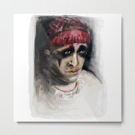 Worried Feather Metal Print