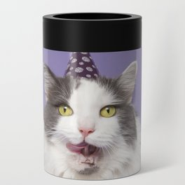 Happy Birthday Fat Cat In Party Hat With Cake Can Cooler