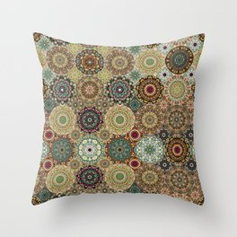 Kaleidoscope of Gems and Jewels Neutral Throw Pillow