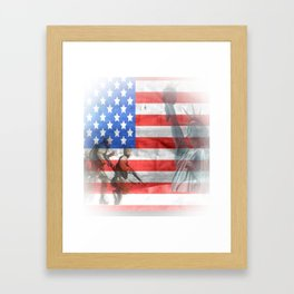 United States Flag and Statue of Liberty Framed Art Print
