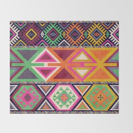 Aztec Artisan Tribal Bright Throw Blanket