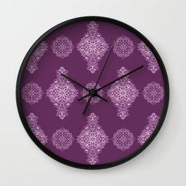 Damson Damask Pattern Wall Clock