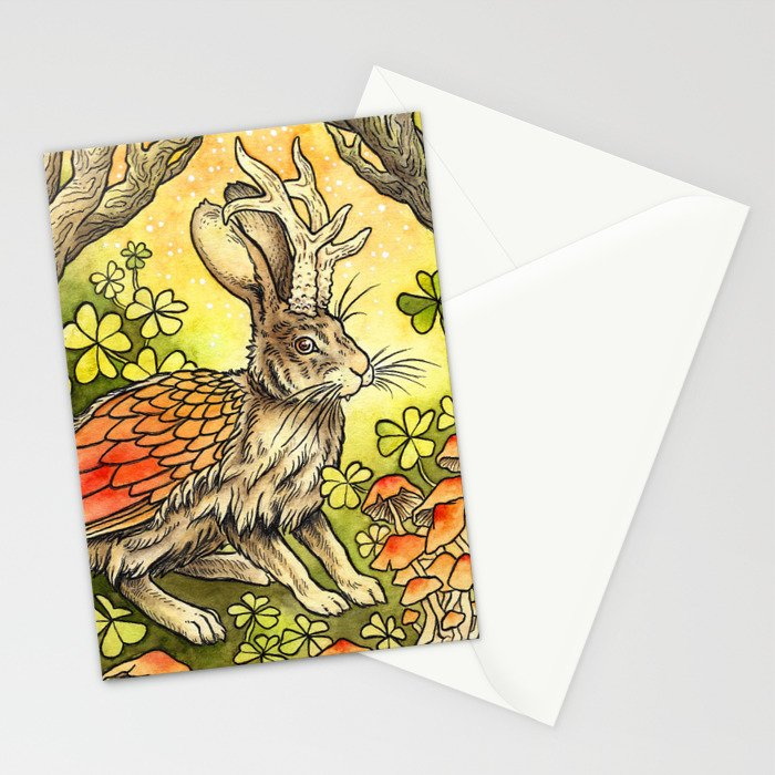 Winged Jackalope in Summer Plumage Stationery Cards