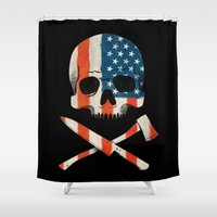 american Shower Curtains featuring American P$yscho by Wharton