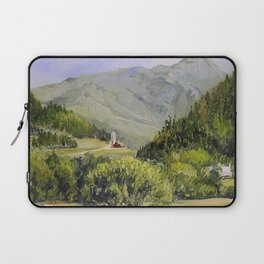 Pastures and Mount Mansfield Oil Landscape Vermont Painting Laptop Sleeve
