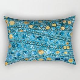 Dot Art Waves - Blue Gemstone and Gold Rectangular Pillow