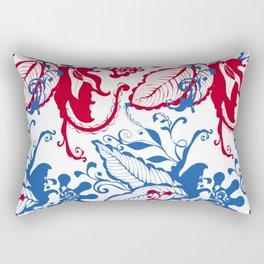 Blue and red Botanical Scandinavian Print pattern design by Arcos Prints Rectangular Pillow