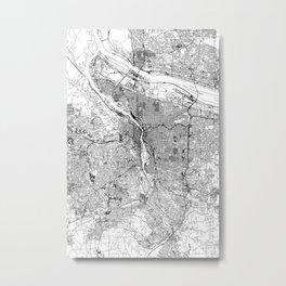 Portland White Map Metal Print