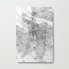 Portland White Map Metal Print
