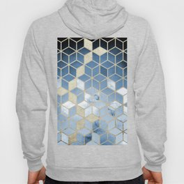 Shades Of Blue Cubes Pattern Hoody