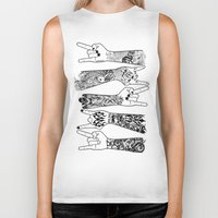 rock and roll Biker Tanks featuring rock & roll  by jun salazar