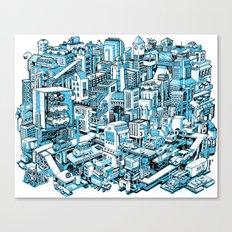 City Machine - Blue Canvas Print
