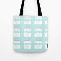 milk Tote Bags featuring Milk by Lazy Queen