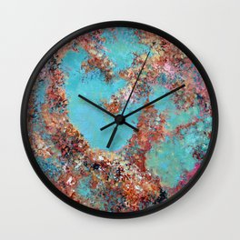 Oneness, Turquoise and Teal Abstract Wall Clock