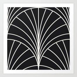 Diamond Series Floral Burst White on Charcoal Art Print