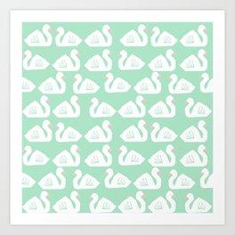 Swan minimal pattern print mint and white bird illustration swans nursery decor Art Print