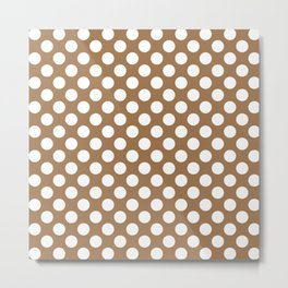 Brown and white polka dots Metal Print