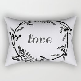 Baesic Mono Floral Love Rectangular Pillow