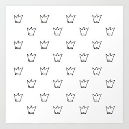 Black Crowns Pattern Art Print