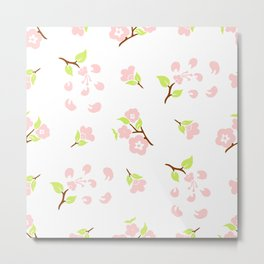 Seamless pattern of stylized flowers and leaves of cherry Metal Print