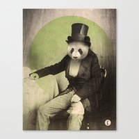 panda Canvas Prints featuring Proper Panda by Chase Kunz