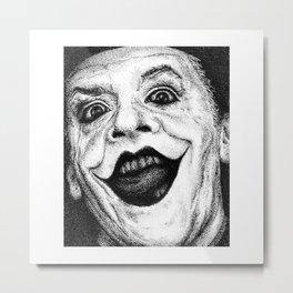 Jack Nicholson Joker Stippling Portrait Metal Print