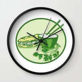 Banh Mi Rice Bowl Coriander Circle Retro Wall Clock