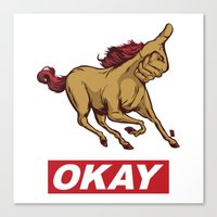 okay Canvas Prints featuring OKAY by Thomcat23