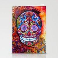 sugar skull Stationery Cards featuring Sugar Skull by oxana zaika