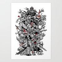 Nuclear Ninja Turtles Black and White Art Print