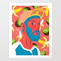 kiwi Art Prints featuring Kiwi by Jerome M