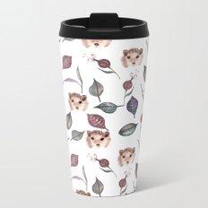 Autumn hedgehogs and leaves pattern Metal Travel Mug