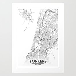 Minimal City Maps - Map Of Yonkers, New York, United States Art Print