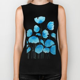 blue poppy field watercolor Biker Tank